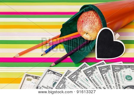 Orange School Cone With Money