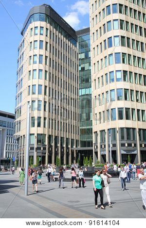 MOSCOW - MAY 23, 2014: Facade of a modern building of business center White Square of natural stone and tinted glass