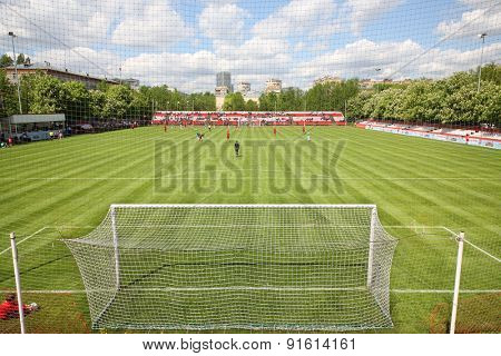 MOSCOW - MAY 14, 2014: The match at the International football tournament Cup of Victory at the Spartakovets stadium in Moscow