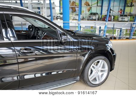 MOSCOW - MAY 14, 2014: Black car in a dealer center Mercedes-Benz Avilon in Moscow