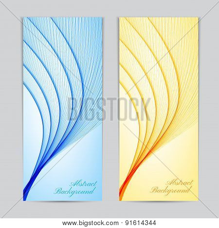 Two colorful banners with curved lines for greeting cards, labels, invitations, posters, badges. Vec