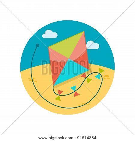 Kite flat icon