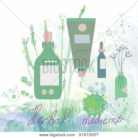 Herbal Medicine Illustration With Bottles