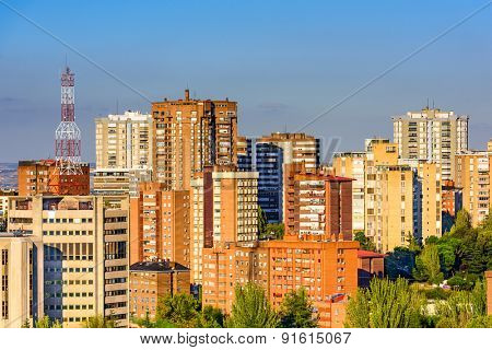 Madrid, Spain high rise buildings in the Chamartin District.