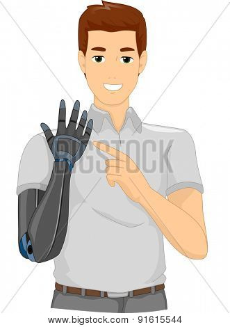 Illustration of a Proud Man Pointing to His Prosthetic Arm