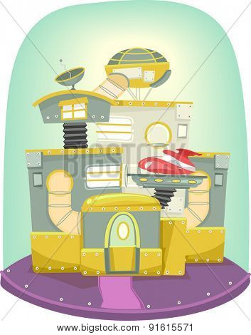Illustration of a Futuristic House Decorated with a Variety of Mechanical Structures