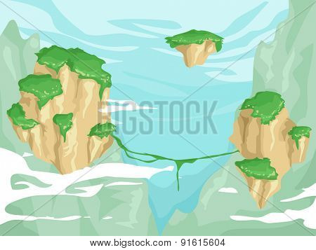 Illustration of Floating Islands with Lush Vegetation on Top