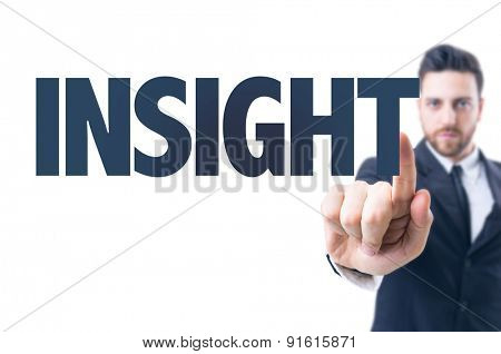 Business man pointing the text: Insight
