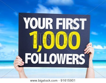 Your First 1,000 Followers card with beach background