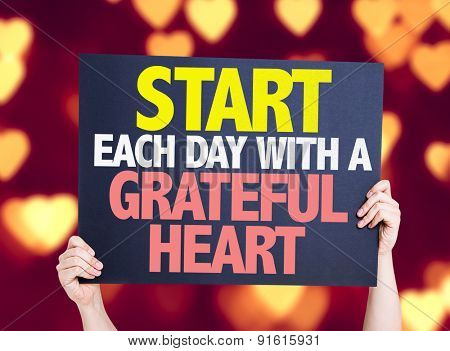 Start Each Day With a Grateful Heart card with heart bokeh background