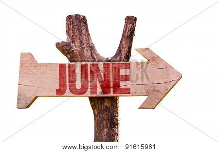 June wooden sign isolated on white