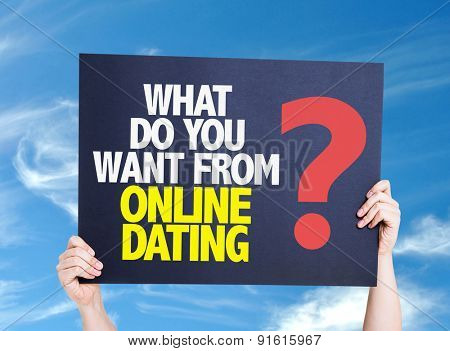 What Do You Want From Online Dating? card with sky background