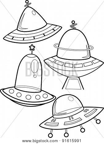 Line Art Illustration of Unidentified Flying Objects