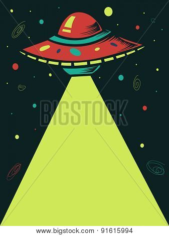 Illustration of a Spaceship Shooting a Laser Beam