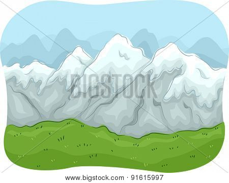 Scenic Illustration of a Mountain Range Covered with Snow