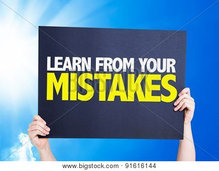 Learn From Your Mistakes card with sky background
