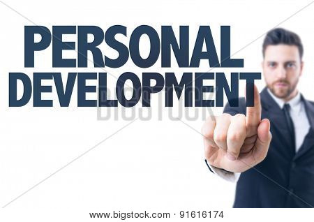 Business man pointing the text: Personal Development