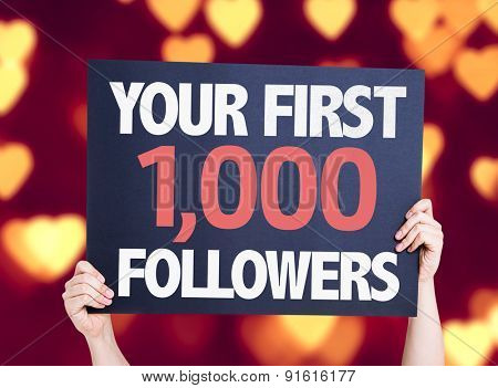 Your First 1,000 Followers card with heart bokeh background
