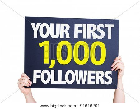 Your First 1,000 Followers card isolated on white