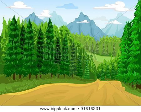 Illustration of a Coniferous Forest with Mountains in the Background