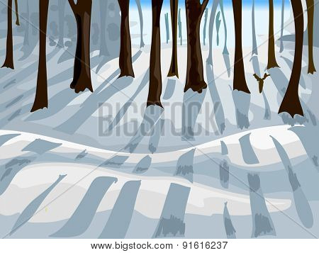 Cropped Illustration of a Forest Covered with Snow