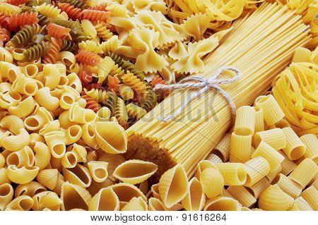 Mix of pasta, close up