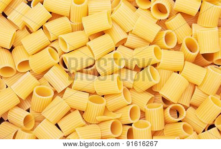 Rigatoni italian pasta background, close up