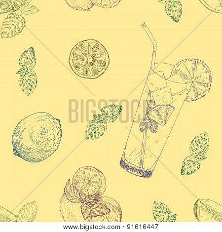 Lime and mint lemonade seamless pattern