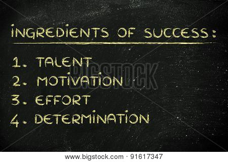 List Of The Ingredients Of Success