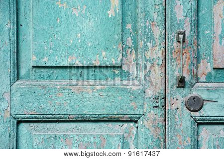 Old Green Weathered Door