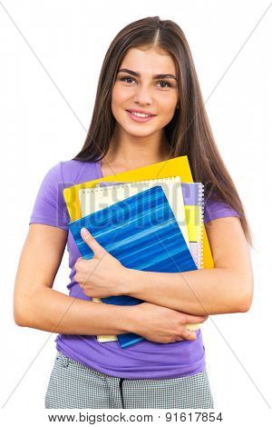 Portrait of young happy girl student