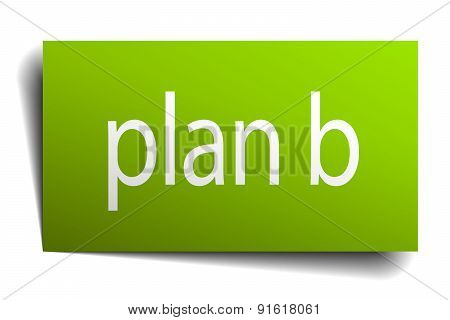 Plan B Square Paper Sign Isolated On White