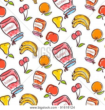Fruits Seamless Pattern On A White Background