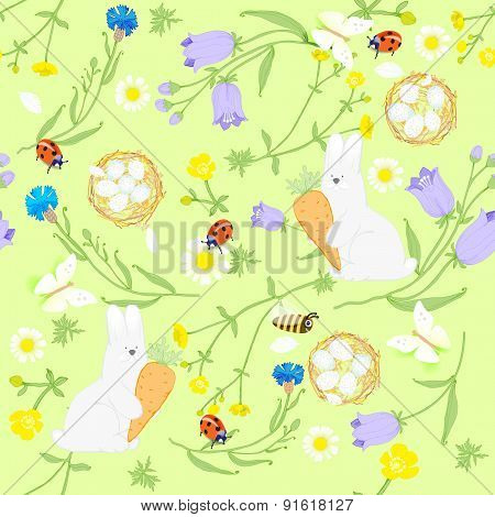 seamless Easter wildflowers pattern butterflies rabbits nests. vector illustration