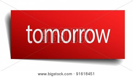 Tomorrow Red Paper Sign On White Background