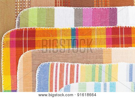 Colorful kitchen towels closeup texture