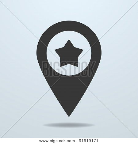 Map Pointer With A Star Symbol