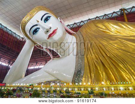 YANGON, MYANMAR - MARCH 25, 2015: Chauk Htat Gyi Buddha Image