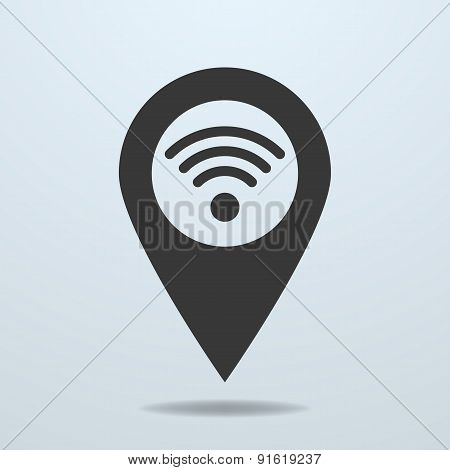 Map pointer with a wifi symbol