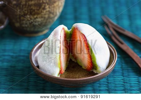 Daifuku with strawberry and green tea filling