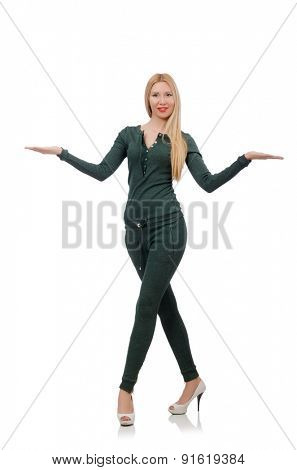 Pretty woman in green clothing isolated on white