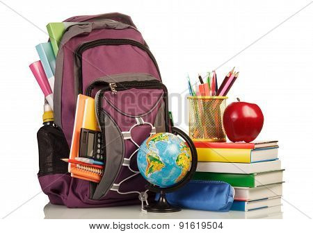 School Backpack with school supplies