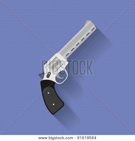 Icon of revolver pistol, gun. Flat style