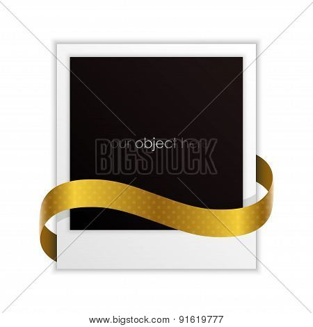 photo frame with golden ribbon for your object