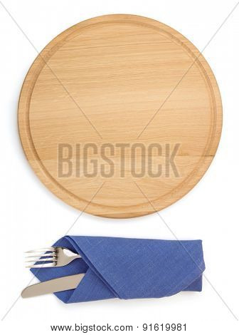 cutting board with fork and knife isolated on white background