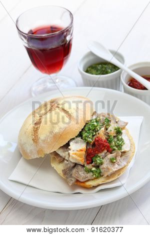 lampredotto sandwich, italian food