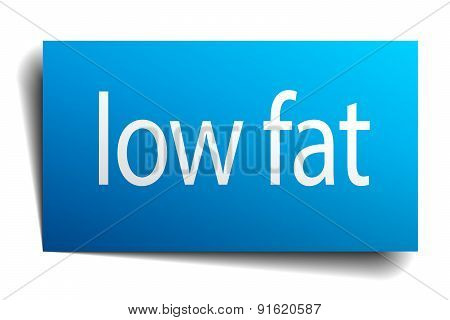Low Fat Blue Paper Sign On White Background