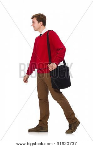 Student with bag isolated on white