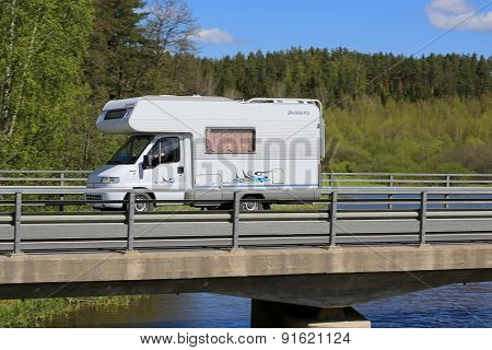 White Dethleffs Motorhome On The Road