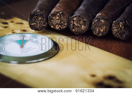Close-up Quality Cigar And Humidor
